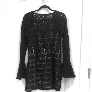 Free People black lace, bell sleeve , mini dress